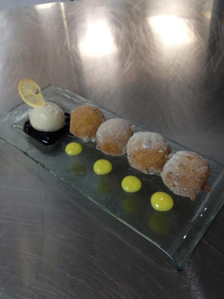 lemon ricotta fritters, blueberry compote, lemon curd, roasted corn IC ...