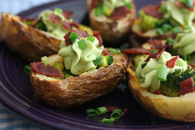 Broccoli Cheddar Potato Skins with Avocado Cream by amyisaacson, via ...