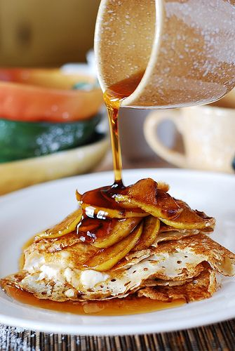 Crepes with ricotta cheese filling, apples, and honey by JuliasAlbum ...