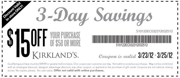 Kirklands coupons december 2018