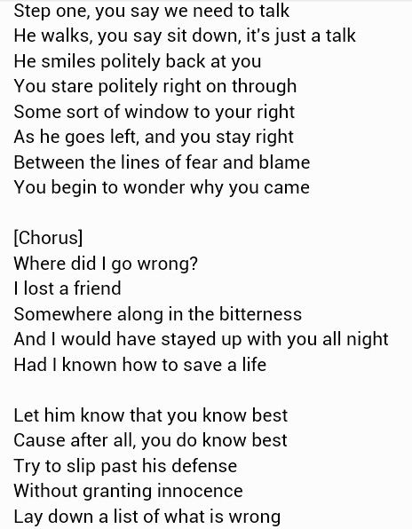 fray how to save a life lyrics:
