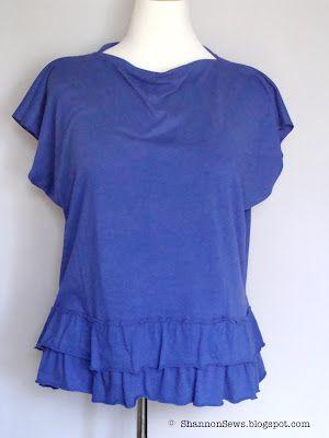 Shannon Sews: Skirt to Shirt Refashion - easy cowl neckline