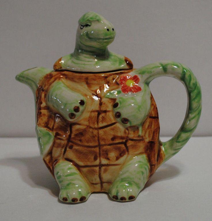 Sadek teapot ceramic turtle tortoise terrapin animal shell ...