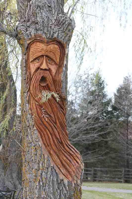 Wood spirit tree carvings pinterest