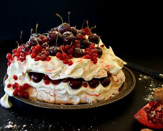 ... New Years Pavlova with Fresh Festive Berries and White Chocolate Cream