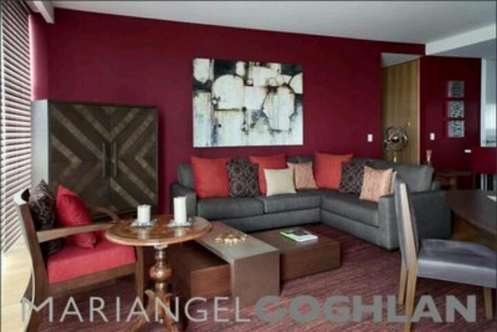 Sala gris rojo decoracion interiores pinterest for Decoracion de salas en gris
