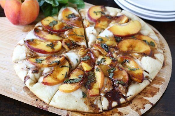 peach basil mozzarella amp balsamic pizza