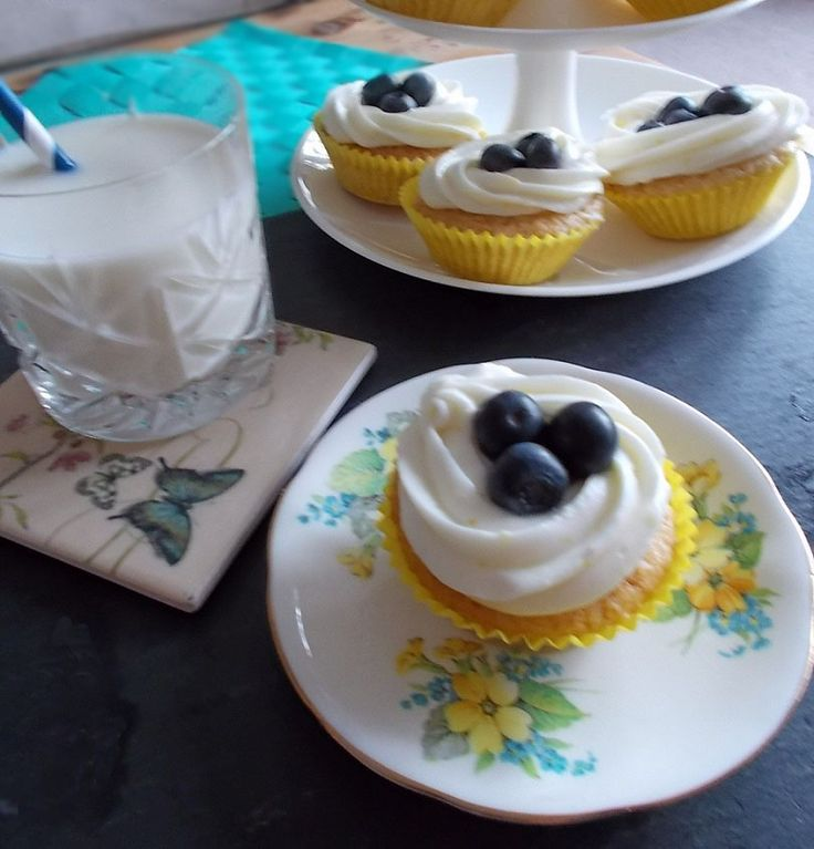 Lemon and blueberry greek yogurt cupcakes by My Blueberry Kitchen