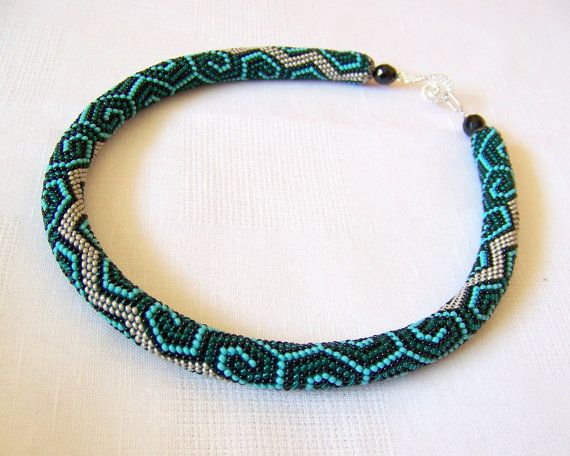 Bead Crochet Patterns : Bead crochet necklace with geometric pattern - Beaded rope necklace ...