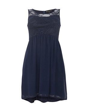 Navy Blue Lace Dress on Navy  Blue  Mela Navy Floral Lace Panel Sleeveless Dress   282231441