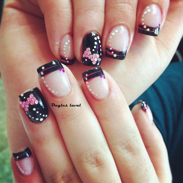 Black French Manucure Polka Dot Pink Bow Nails Art Nails Design Ongles Laval Ongles