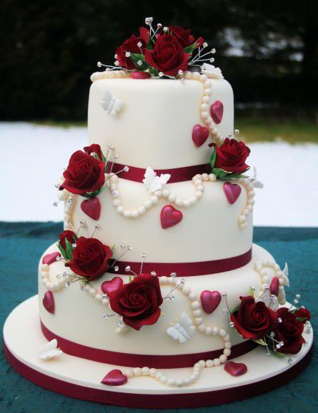 Wedding Cake Decorated With Hearts : Valentine Wedding Cake wedding Pinterest