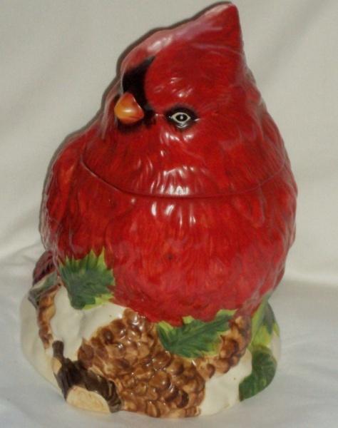 Red Cardinal Bird Cookie Jar Vintage Mercuries China Co Ohio State Bird