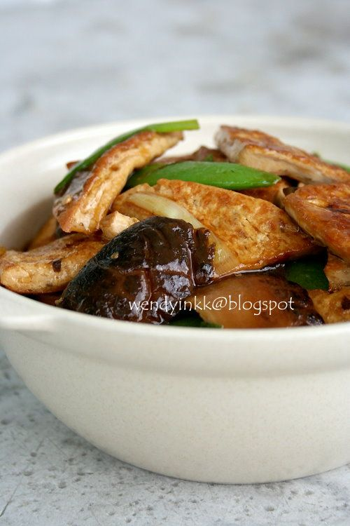 braised tofu with mushrooms pressed tofu
