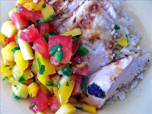 Garlic Lime Grilled Chicken With Mango Salsa - Seriously made this ...