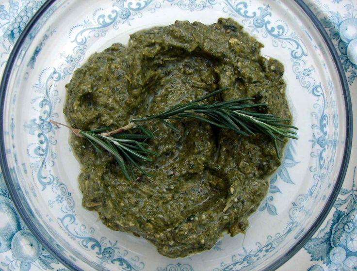 broccoli rabe, walnut, rosemary pesto w/ roasted sliced potatoes