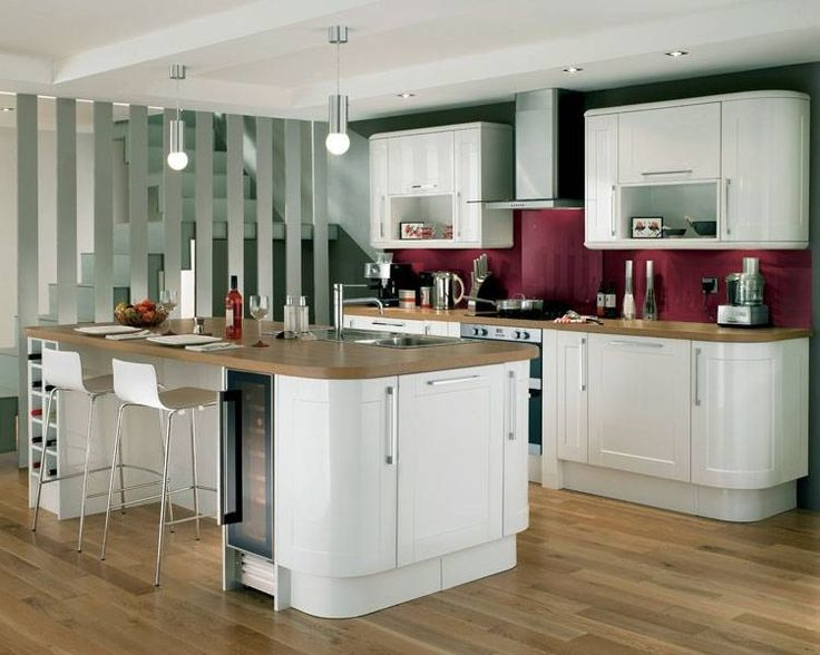 White gloss kitchen and red wall  Kitchen ideas  Pinterest