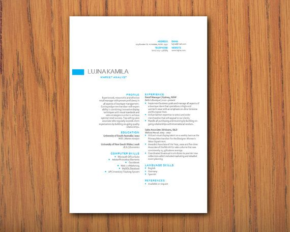 Simple elegant Microsoft Word docx resume template by INKPOWER, $12.00