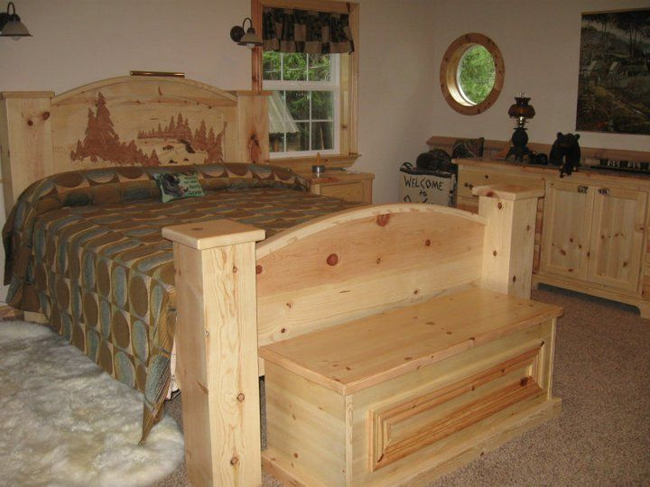 Part of a custom knotty pine bedroom set built for a customer ...