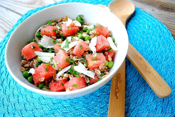 Summer pea, watermelon and farro salad | My Cookbook | Pinterest