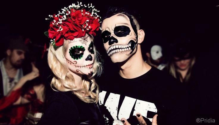 Female amp male halloween make up sugar bone mexican skull