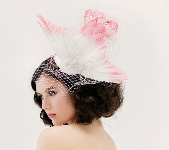 Feather Fascinator Birdcage Veil Pink Ombre by BatcakesCouture, $1200.00