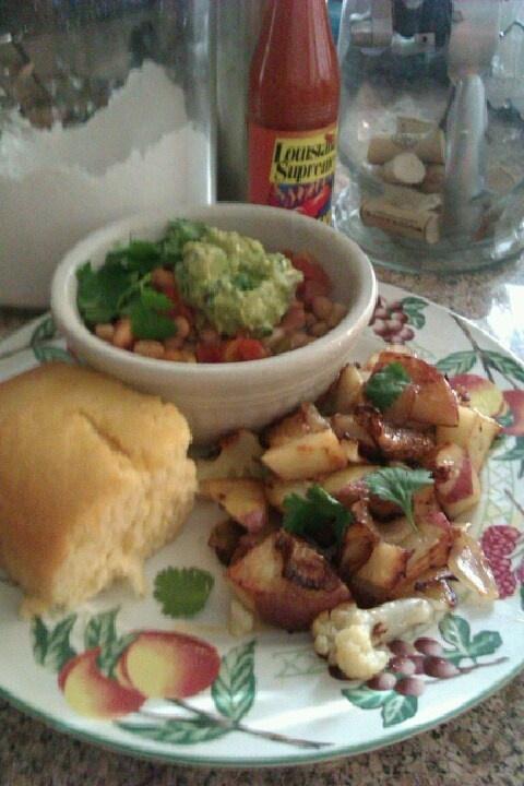 with pancetta, garlic, pico de gallo, cilantro, guacamole/roasted red ...