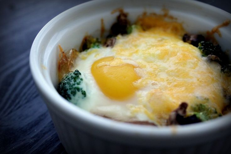 baked eggs with broccoli mushrooms amp cheese makes 2 servings average ...