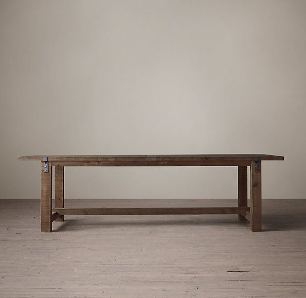Reclaimed Wood & Zinc Strap Dining Table..Restoration Hardware