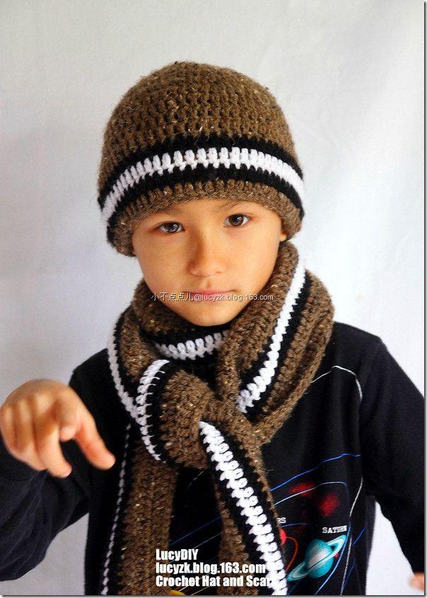 Boys Knit Scarf Pattern : Crochet boy hat and scarf Crochet - Hats and Headbands Pinterest