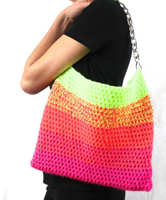 Easy Crochet Tote Bag Pattern : Luma Tote PDF Crochet Pattern TOTE Bag Purse Neon by abigailology, $3 ...