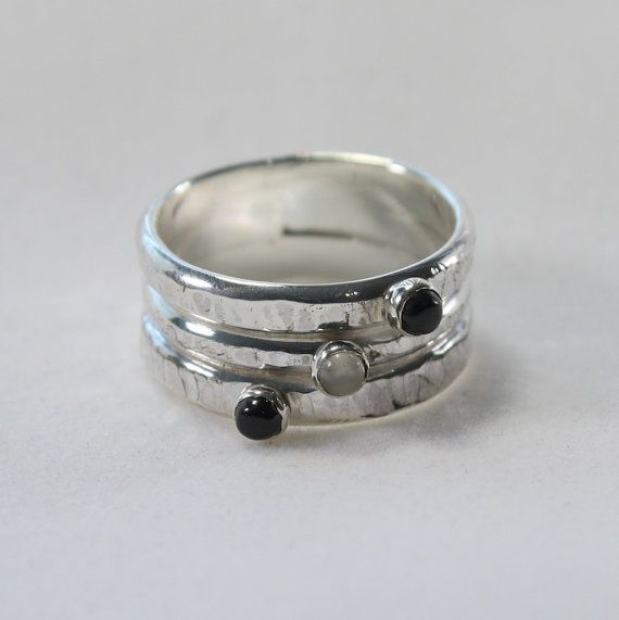 Sale wide silver ring onyx and moonstone ring custom wide rustic ba