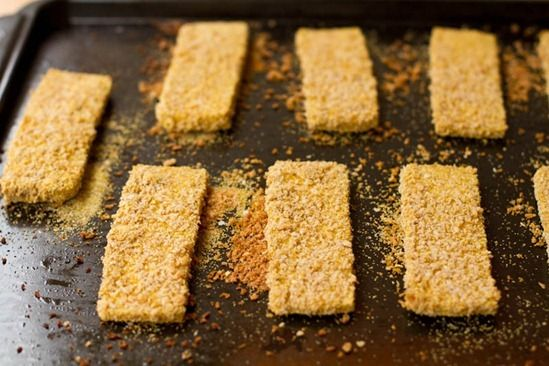 tofu strips - like fish sticks - needed salt, but otherwise easy and ...