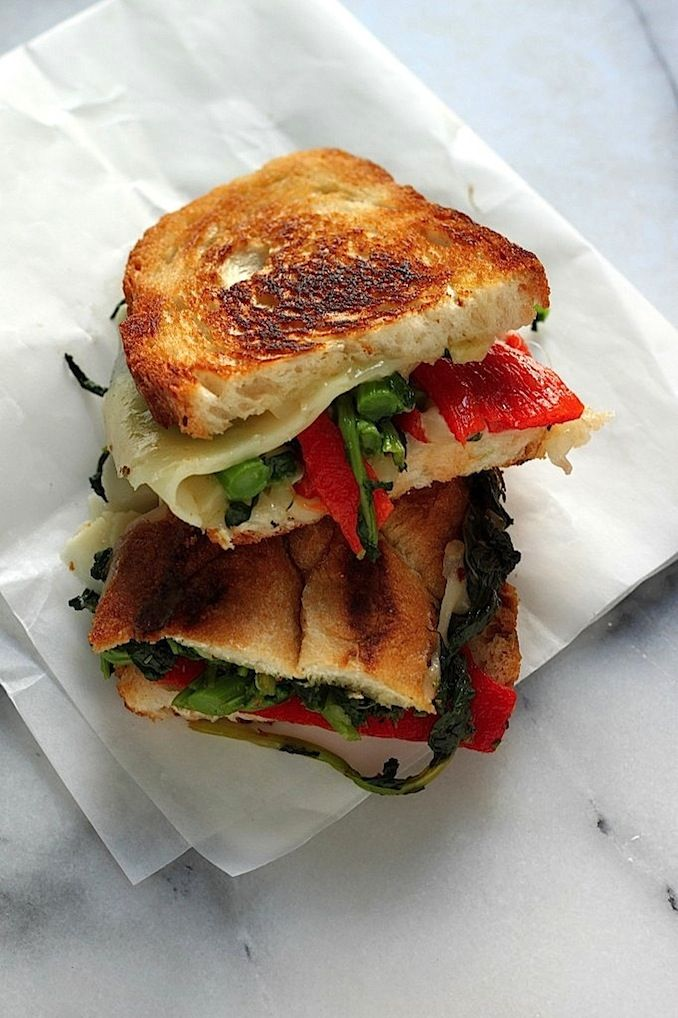 Broccoli Rabe, Roasted Red Pepper, & Provolone Grilled Cheese (use Udi ...