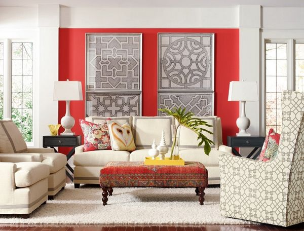 Accent wall in red Red accents for living room
