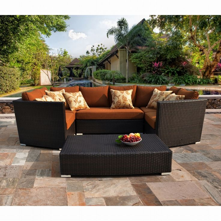 Batavia 6 Piece Outdoor Furniture Set With 6 Pillows By Sirio