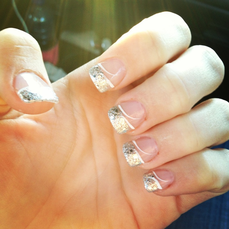 glitter french manicure nail art pinterest. Black Bedroom Furniture Sets. Home Design Ideas