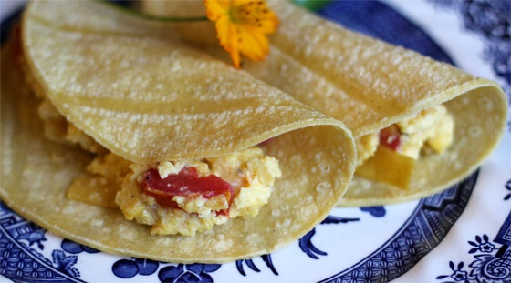 ... scrambled egg. Add the migas to flour or corn tortillas and you have a