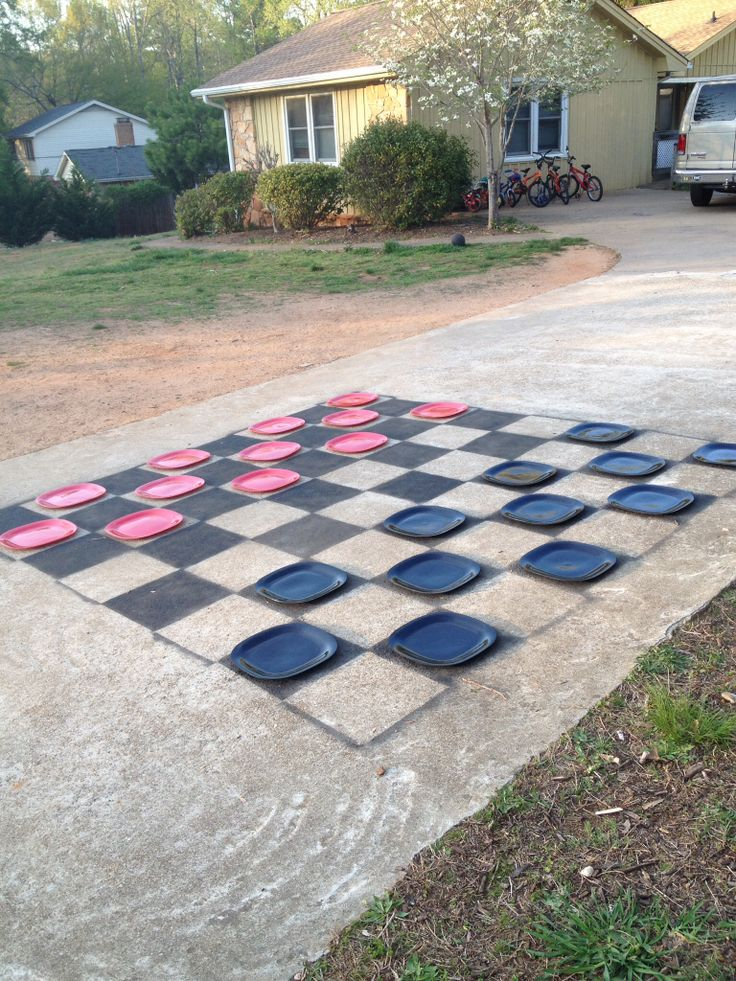 driveway checker game 2 cans of black spray paint and 12 each black. Black Bedroom Furniture Sets. Home Design Ideas