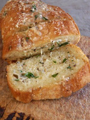 The Perfect Garlic Bread--This looks so much better than the frozen version.