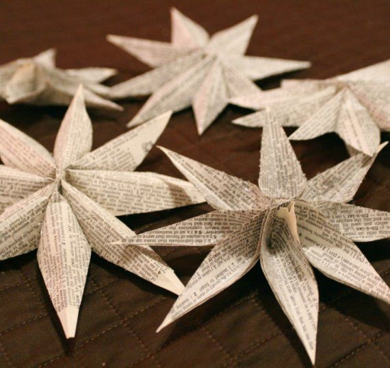 star (flower?) ornaments from book pages