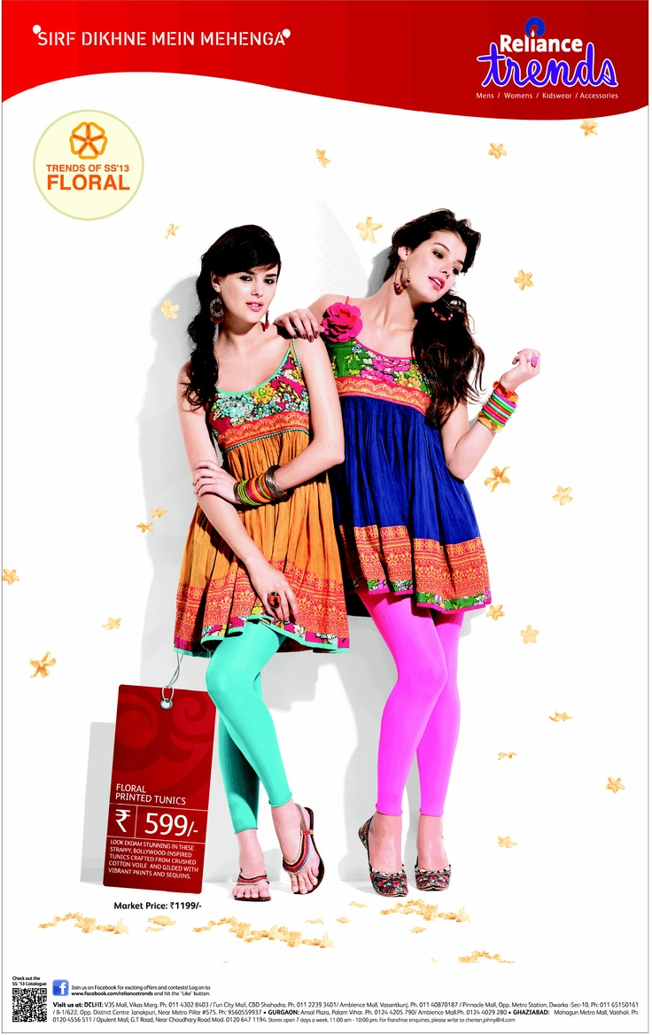 Reliance Trends' #SS13 Floral Printed Kurtis / Tunics https://www.facebook.com/RelianceTrends
