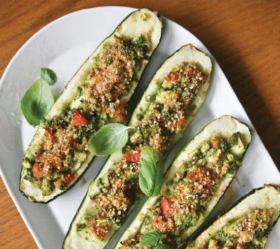Kale Pesto Baked Zucchini