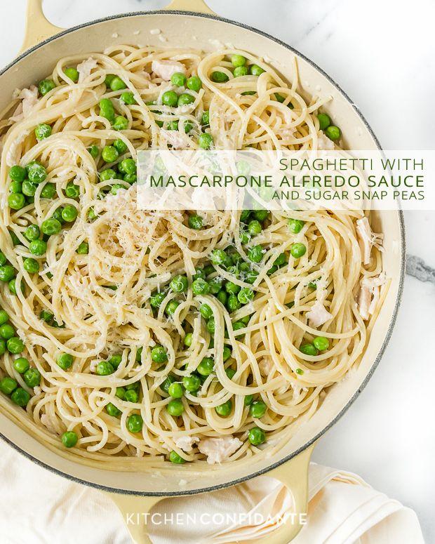 Spaghetti with Mascarpone Alfredo Sauce and Sugar Snap Peas