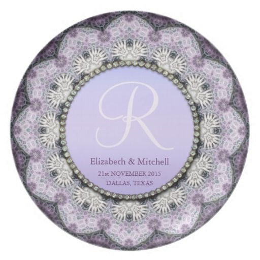 Lavender Lace Monogram Engagement Wedding Anniversary Gift Party Plate ...