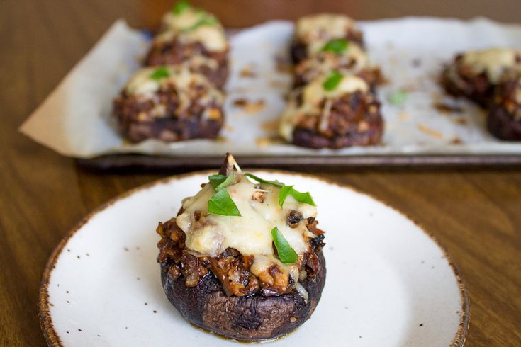 Tofu and sundried tomato stuffed mushrooms