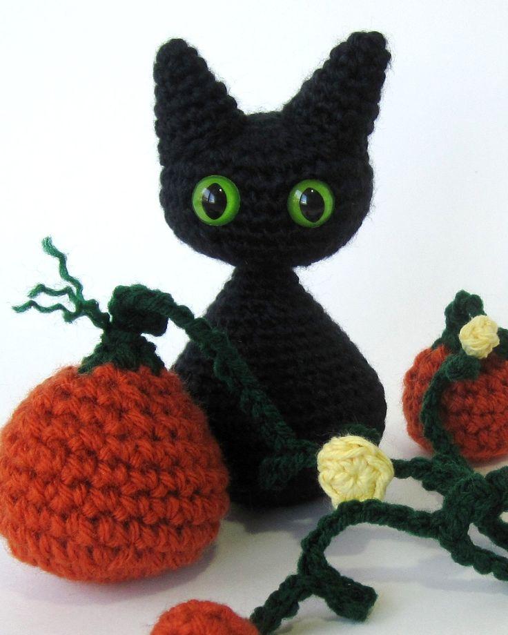 Crochet Amigurumi Kitty : Crochet Pattern Cat Amigurumi Angel Wings or Halloween ...