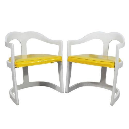 Vtg mid century modern molded plastic dining arm chairs kartell era