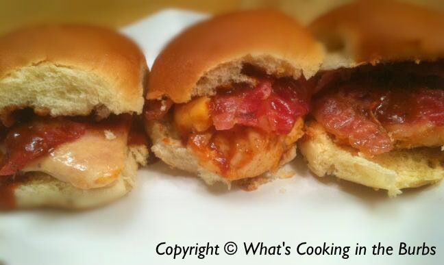 Whats cooking in the burbs: Grilled Chicken Bacon and Cheese Sliders
