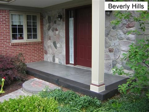Stained concrete front porch landscaping pinterest for Stained front porch